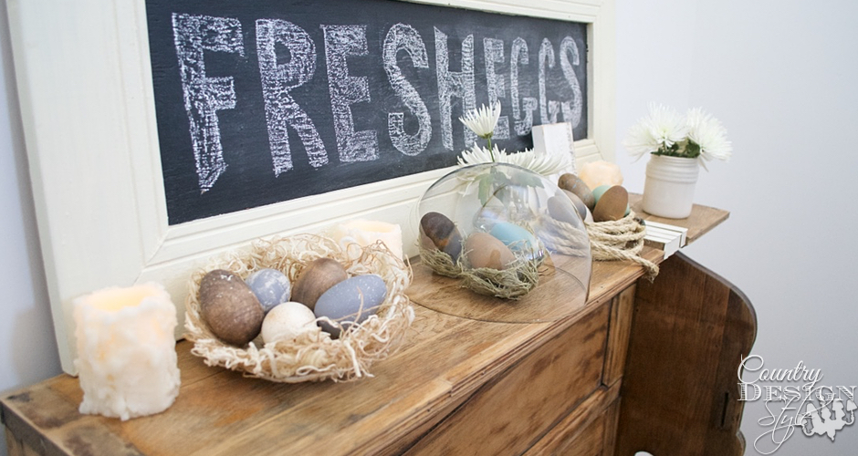 Wooden Eggs on Easter Mantel | Country Design Style | countrydesignstyle.com