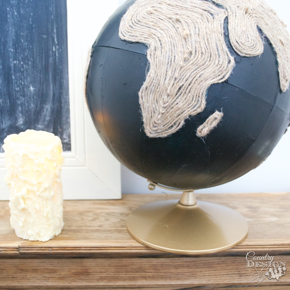 Chalkboard Globe with Twine SQ | Country Design Style | countrydesignstyle.com