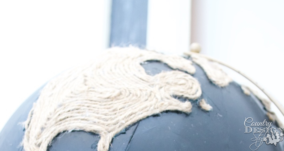 Chalkboard Globe with twine land | Country Design Style | countrydesignstyle.com