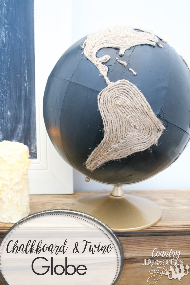 Chalkboard and Twine Globe Pin | Country Design Style | countrydesignstyle.com