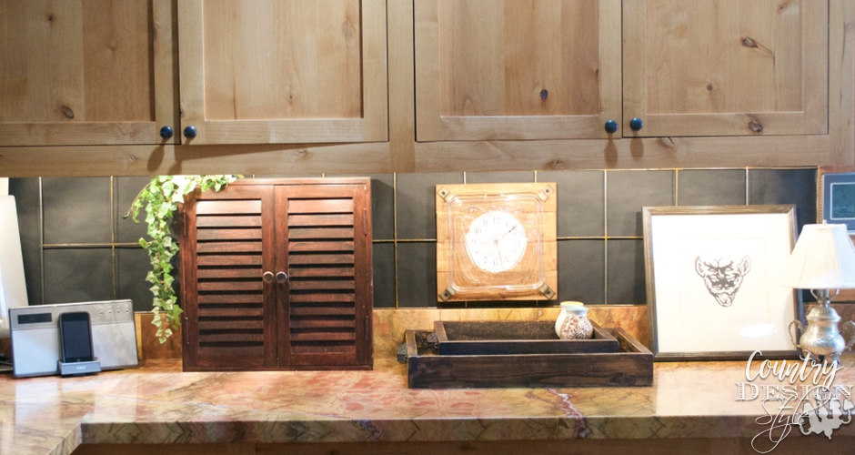 DIY Farmhouse Industrial Backsplash Left side | Country Design Style | countrydesignstyle.com