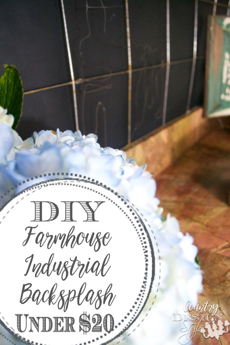 DIY Farmhouse Industrial Backsplash PN 2 | Country Design Style | countrydesignstyle.com