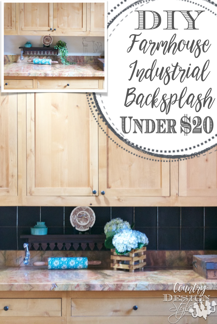 DIY Farmhouse Industrial Backsplash PN | Country Design Style | countrydesignstyle.com