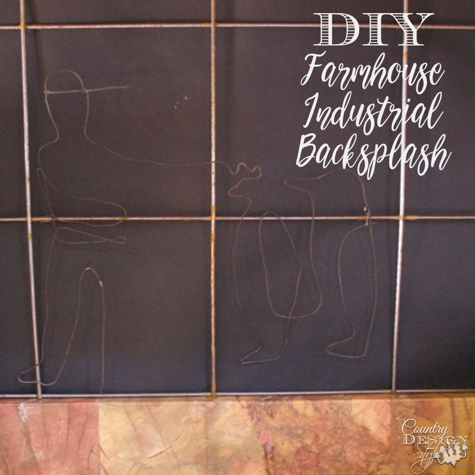 DIY Farmhouse Industrial Backsplash SQ | Country Design Style | countrydesignstyle.com