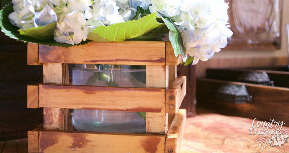 Glass Vase in a DIY Crate | Country Design Style | countrydesignstyle.com