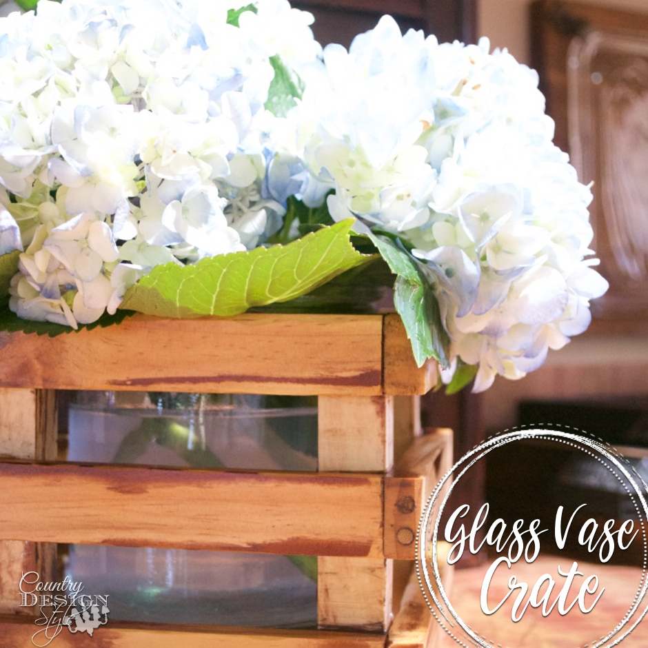 Glass Vase in a DIY crate SQ | Country Design Style | countrydesignstyle.com