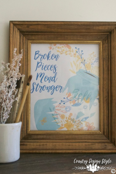 Broken Pieces Mend Stronger VT | Country Design Style | countrydesignstyle.com