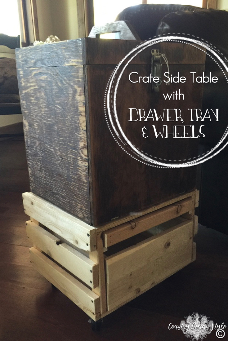 Crate-Side-Table-with-wheels | Country Design Style | countrydesignstyle.com