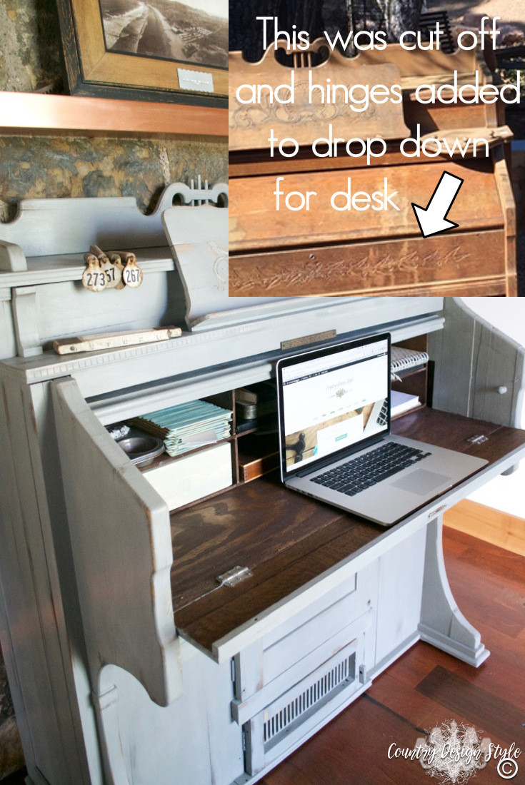 Pump-organ-makeover-desk-area | Country Design Style | countrydesignstyle.com