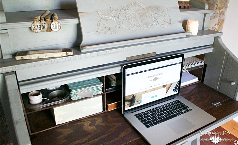 Pump-organ-makeover-inside-desk | Country Design Style | countrydesignstyle.com