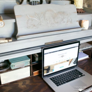Pump-organ-makeover-into-desk | Country Design Style | countrydesignstyle.com