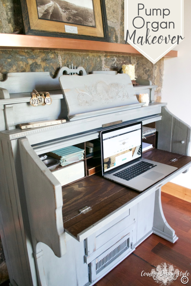 Pump-organ-makeover-to-desk | Country Design Style | countrydesignstyle.com