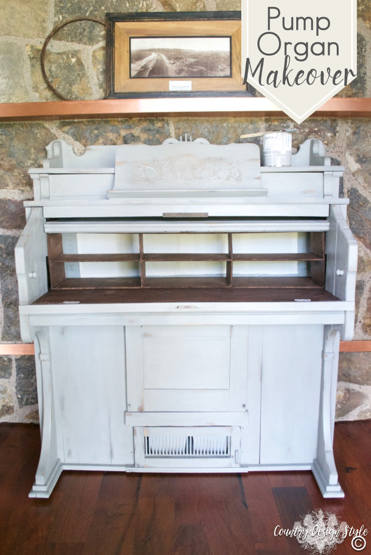 Pump-organ-makeover-with-cubbies | Country Design Style | countrydesignstyle.com