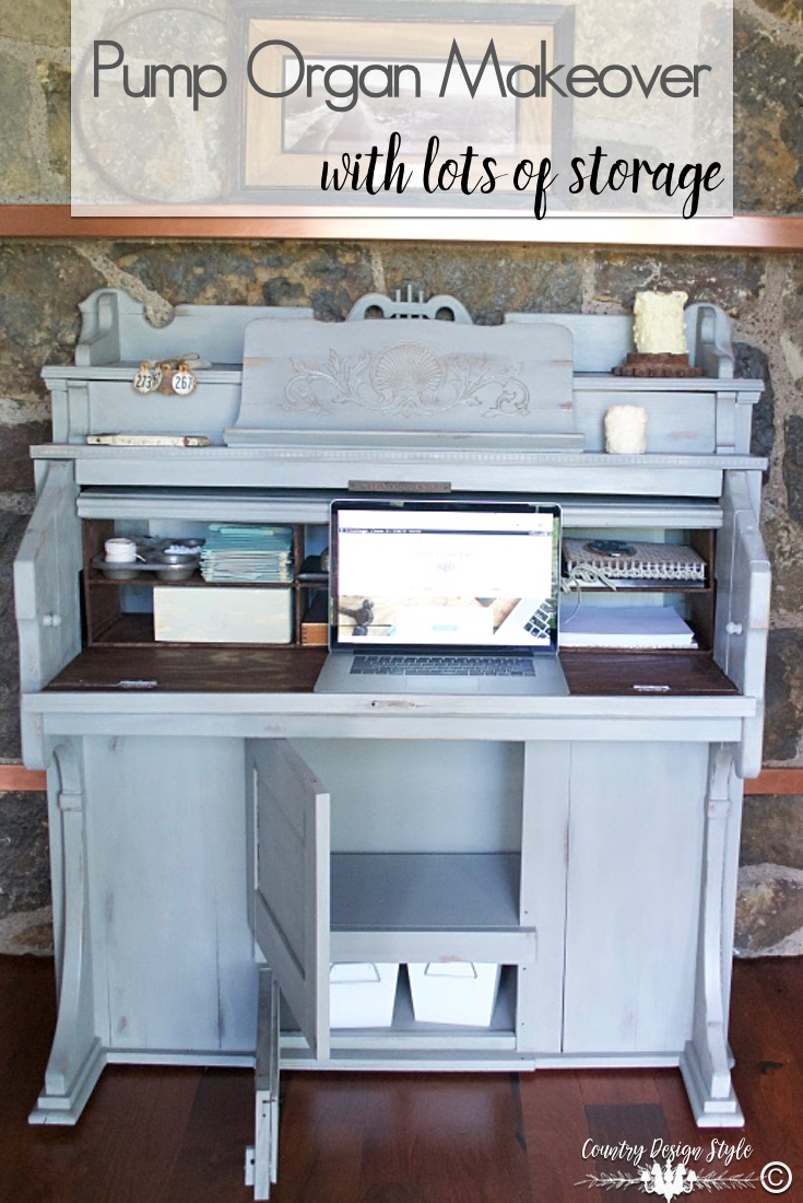 Pump-organ-makeover-with-storage-below | Country Design Style | countrydesignstyle.com