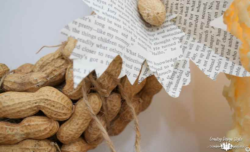 diy-peanut-wreath-with-old-book-leaves-country-design-style-countrydesignstyle-com
