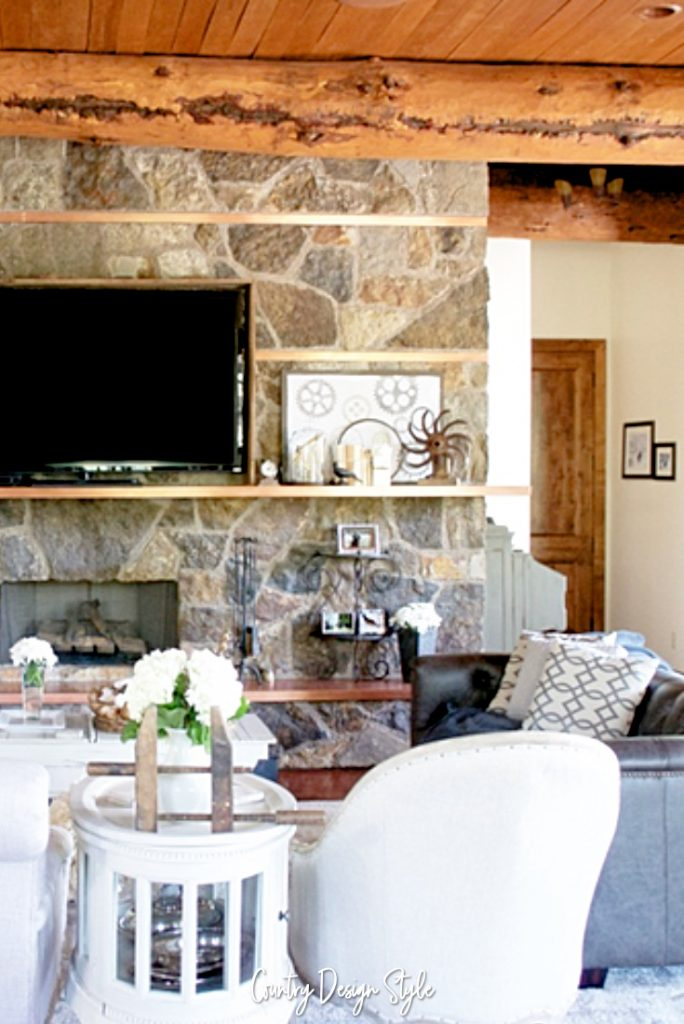 Industrial farmhouse living room mantel