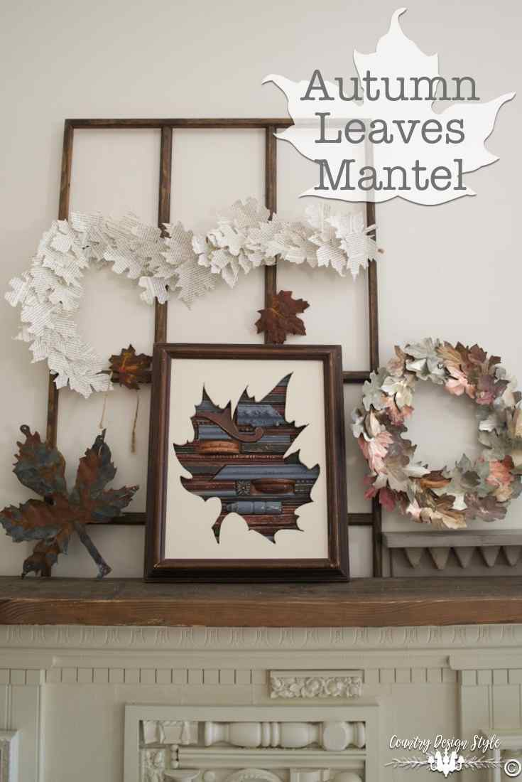 diy-metal-leaves-on-mantel-country-design-style-countrydesignstyle-com