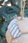 Easy Farmhouse Ornament with burlap