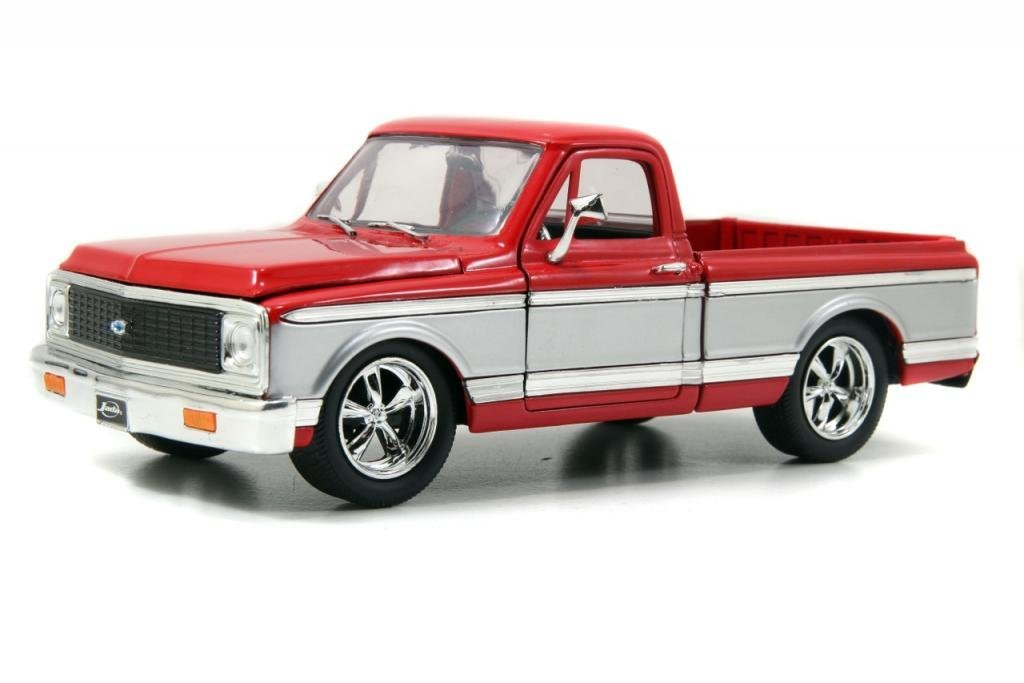 Red Pickup with silver