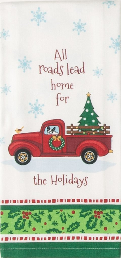 Red Pickup With Christmas Tree Gift To You Country