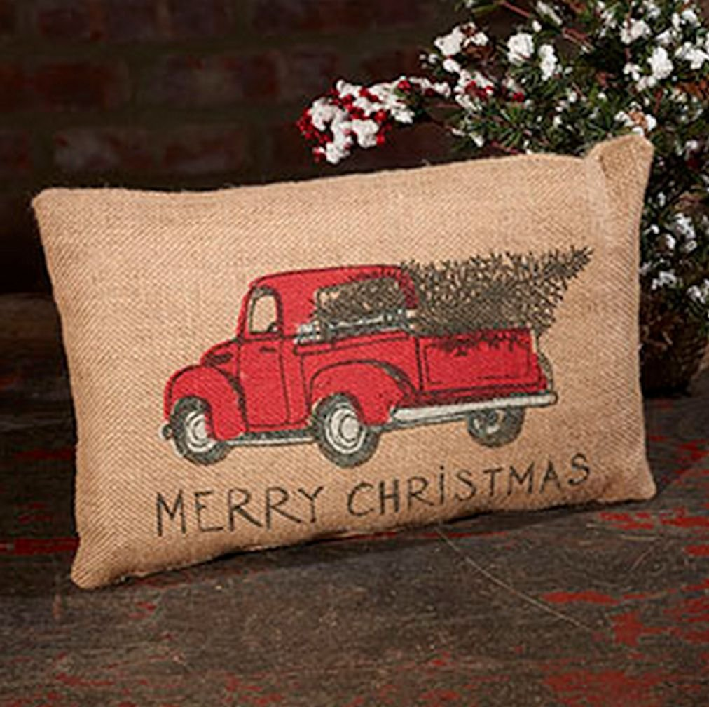 Red Pickup with Christmas tree