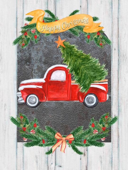 red-pickup-with-christmas-tree-country-design-style-countrydesignstyle-com