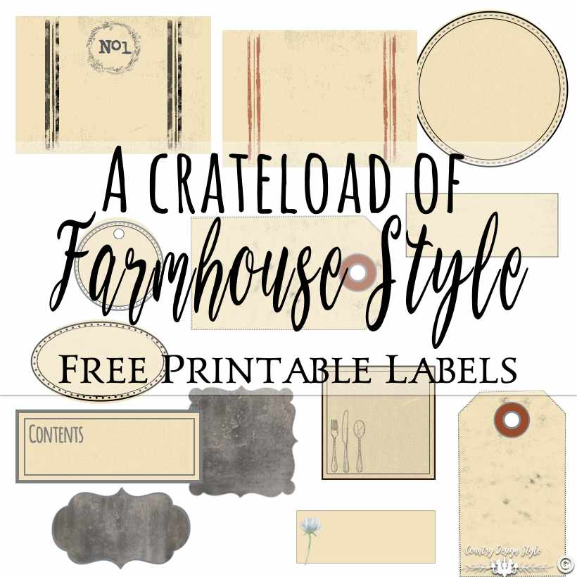 Farmhouse Style Labels Square | Country Design Style | countrydesignstyle.com