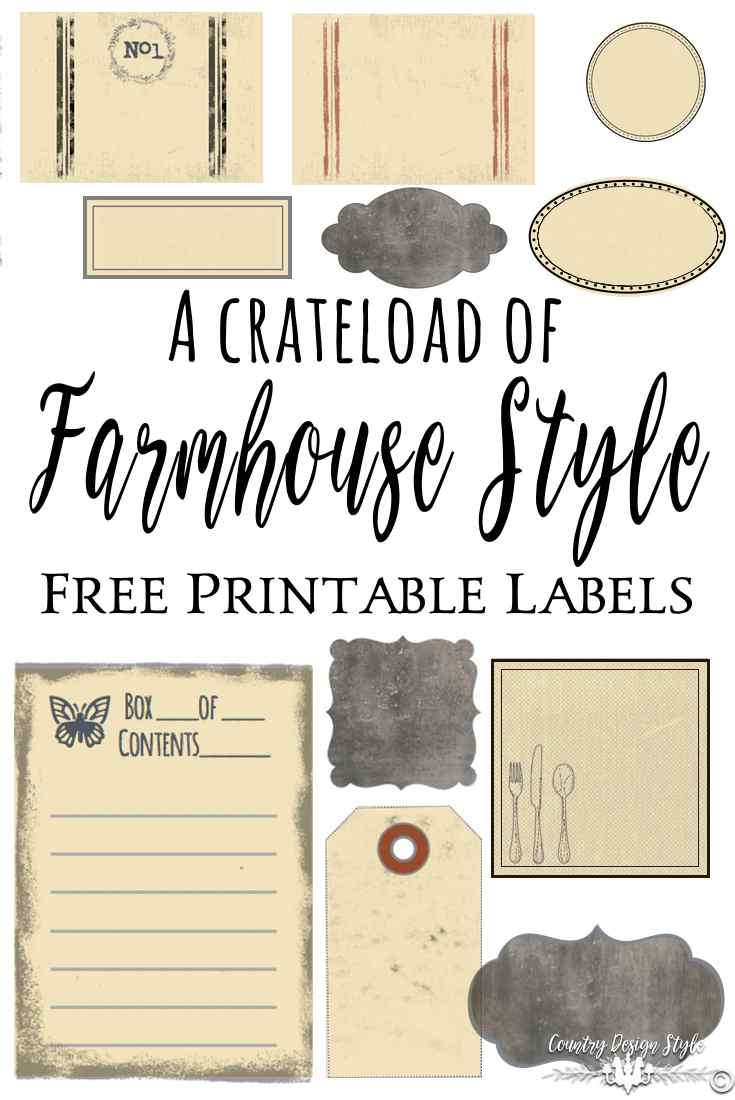 Farmhouse Style Labels for pinning | Country Design Style | countrydesignstyle.com