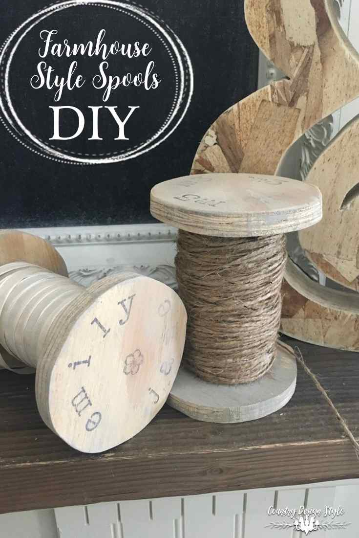 Farmhouse Style Spools DIY for pinning | Country Design Style | countrydesignstyle.com