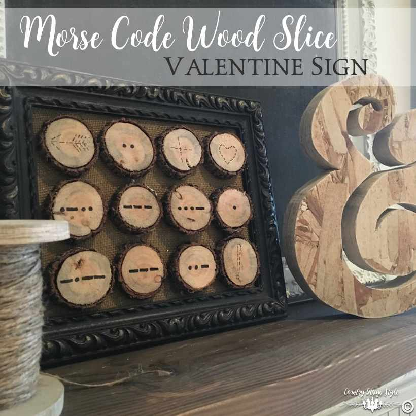 Valentines Morse code obsession in wood slices sq | Country Design Style | countrydesignstyle.com