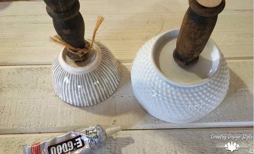 DIzzy Lazy Susan [DIY] glass bowls with spindles | Country Design Style | countrydesignstyle.com