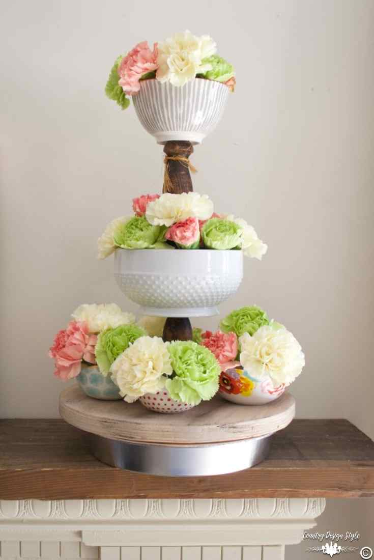 Lazy-susan-three-tier-with-flowers | Country Design Style | countrydesignstyle.com