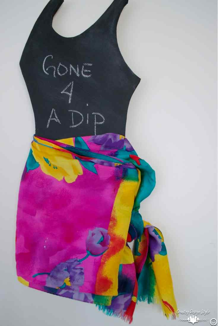 Chalkboard-shape-little-black-swimsuit-sarong | Country Design Style | countrydesignstyle.com