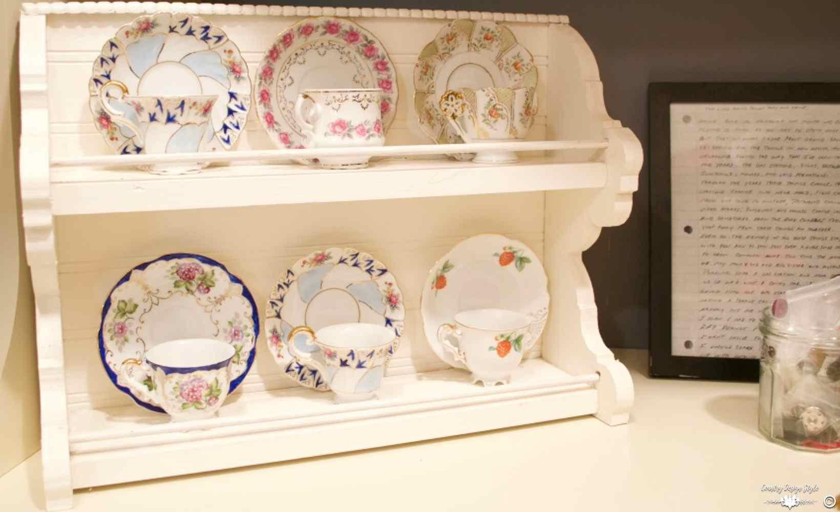Craft Containers Organizing small items vintage tea cups | Country Design Style | countrydesignstyle.com