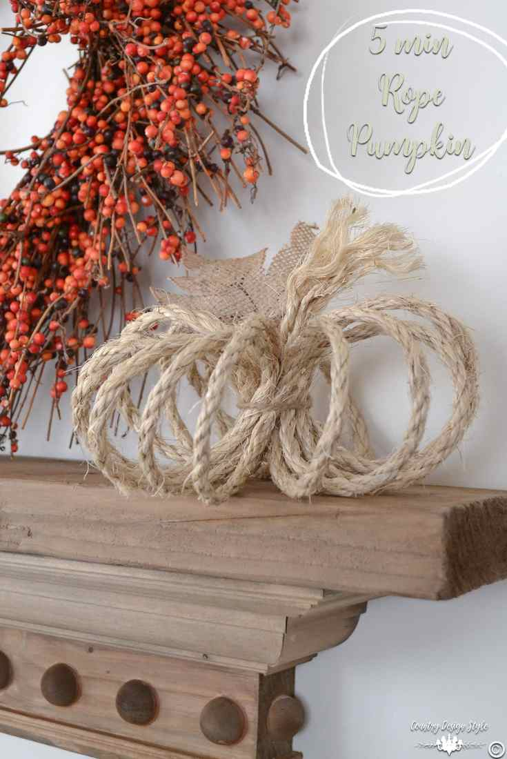 The pin for a 5 minute rope pumpkin | Country Design Style | countrydesignstyle.com