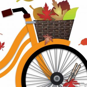 Printable fall leaves and bike sq | Country Design Style | countrydesignstyle.com