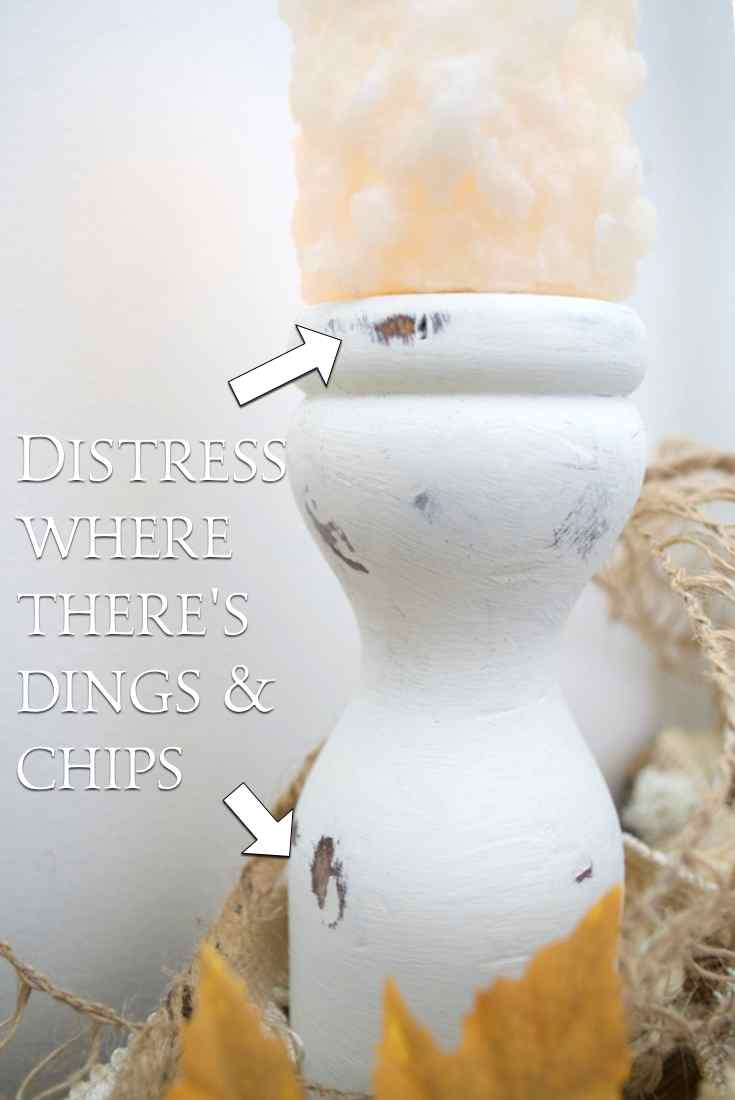 DIY Farmhouse candle holders distress | Country Design Style before | countrydesignstyle.com