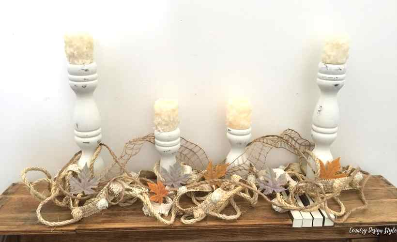 DIY Farmhouse candle holders with candles | Country Design Style before | countrydesignstyle.com