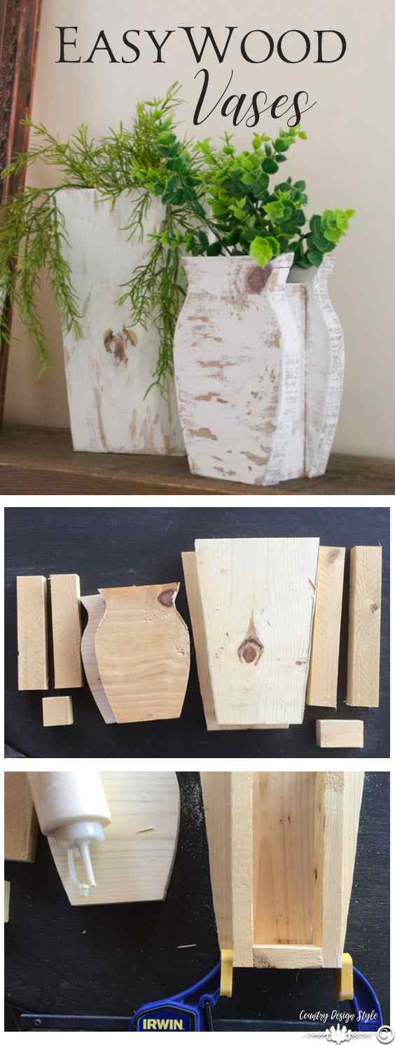DIY wood vases made easily from scrap wood. Add a glass holder inside from fresh flowers | Country Design Style | countrydesignstyle.com