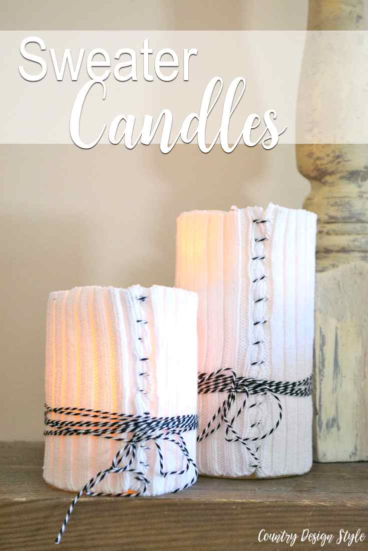 DIY sweater candles sewn with bakers twine | Country Design Style | countrydesignstyle.com
