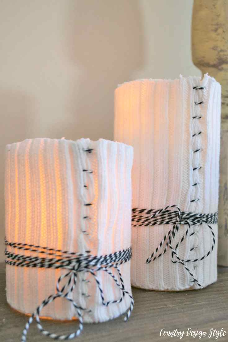 DIY sweater candles with bakers twine | Country Design Style | countrydesignstyle.com