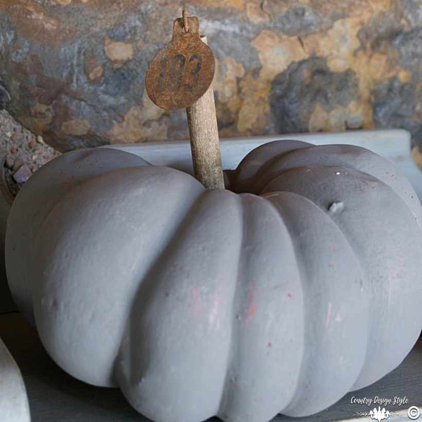 Fall Home Tour faux pumpkin with cattle tag stem   Country Design Style   countrydesignstyle.com
