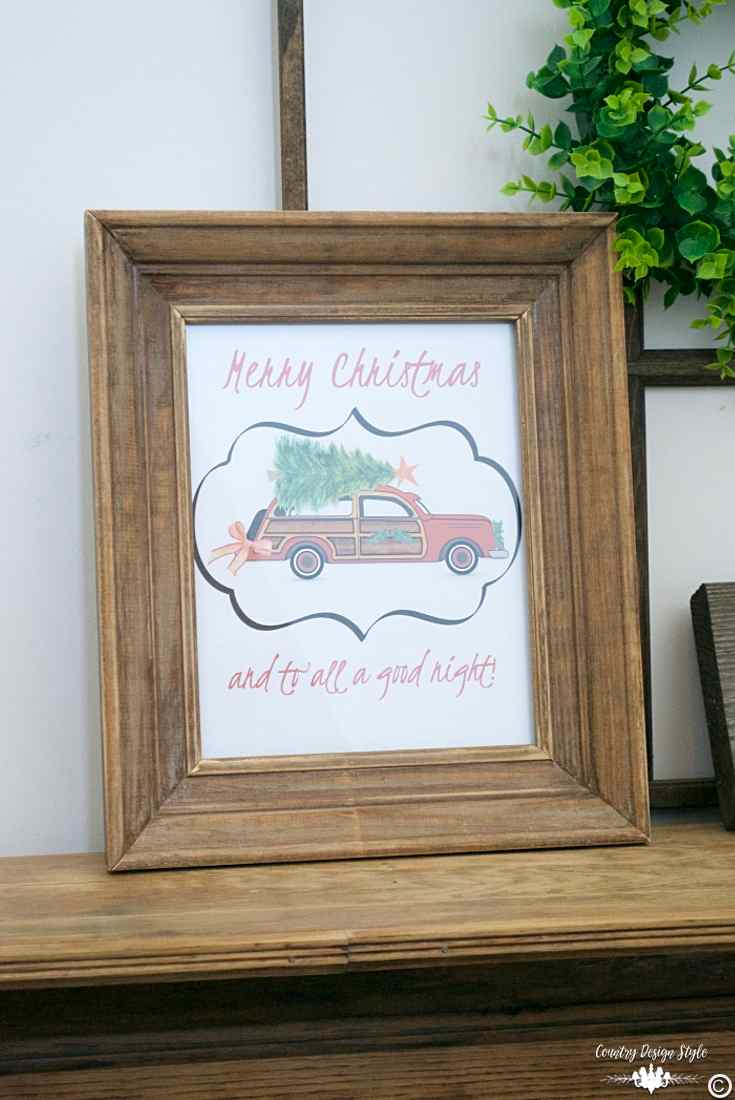Woodie car christmas printable pin | Country Design Style | countrydesignstyle.com