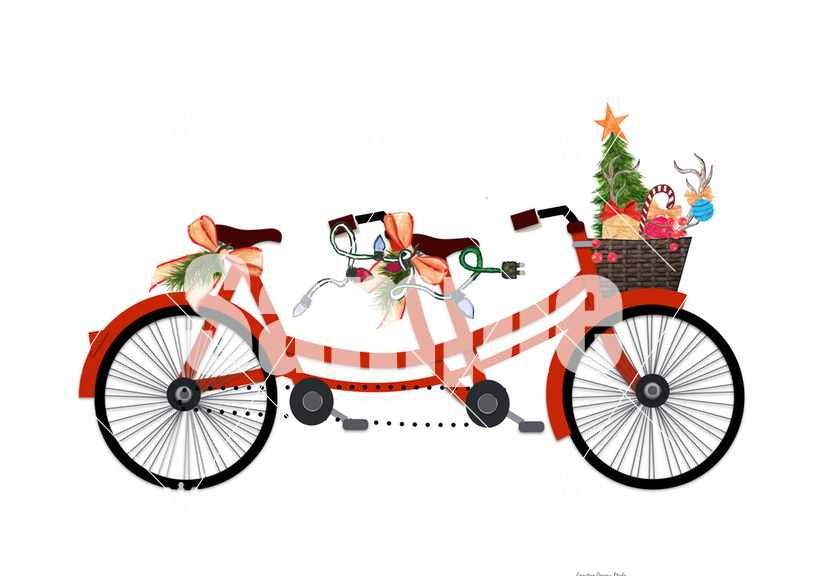 Bicycle for two Christmas image | Country Design Style | countrydesignstyle.com