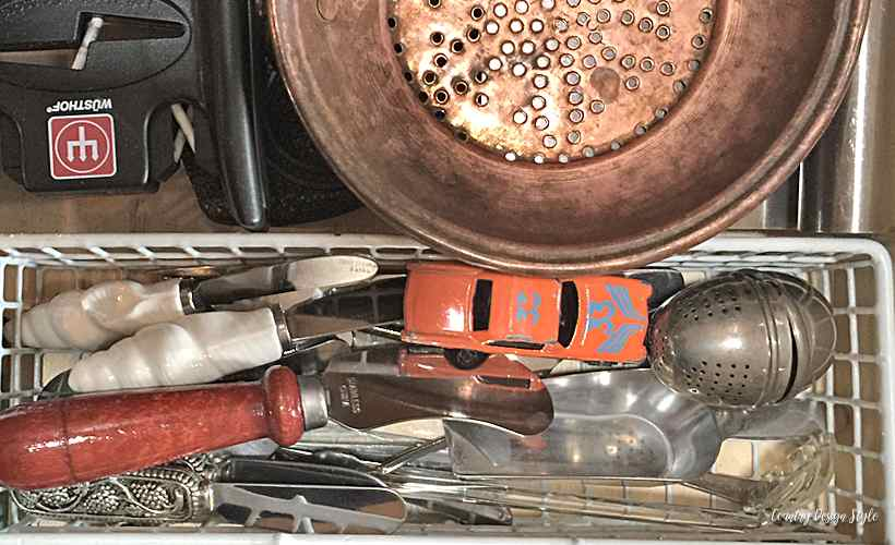 Orange car in the silverware drawer 2 | Country Design Style | countrydesignstyle.com