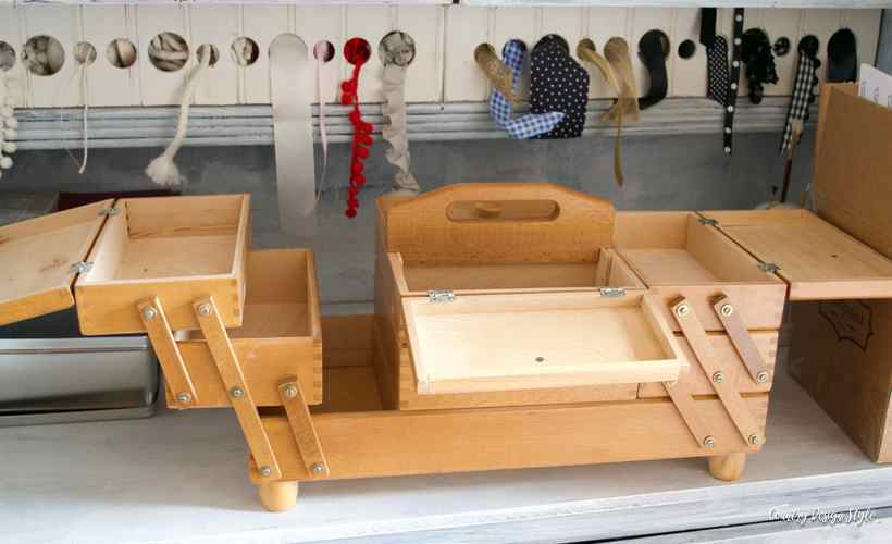 Sewing storage box open | Country Design Style | countrydesignstyle.com
