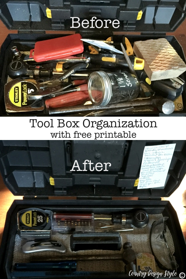 Tool box organization with printable | Country Design Style | countrydesignstyle.com