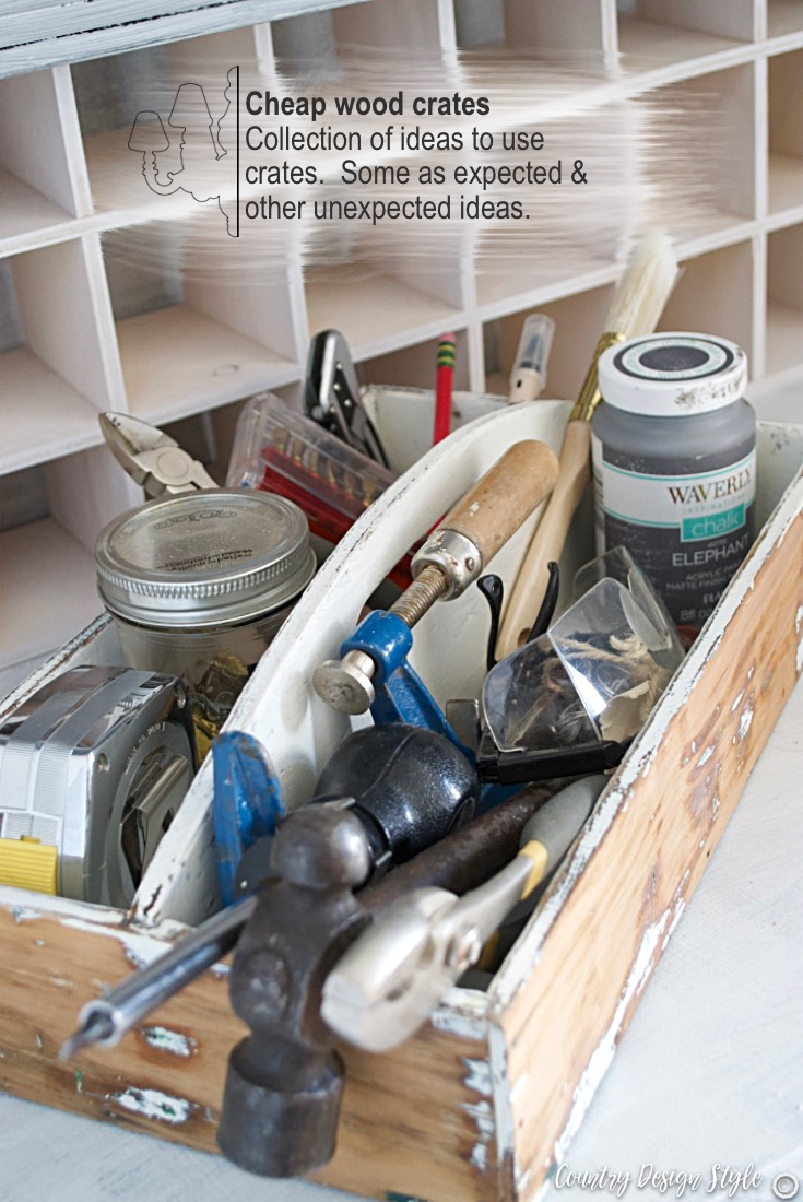 Tools thrift store cheap wood crates | Country Design Style | countrydesignstyle.com
