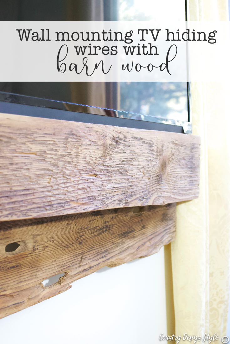 Wall mounting tv hiding wires with barn wood easily | Country Design Style | countrydesignstyle.com