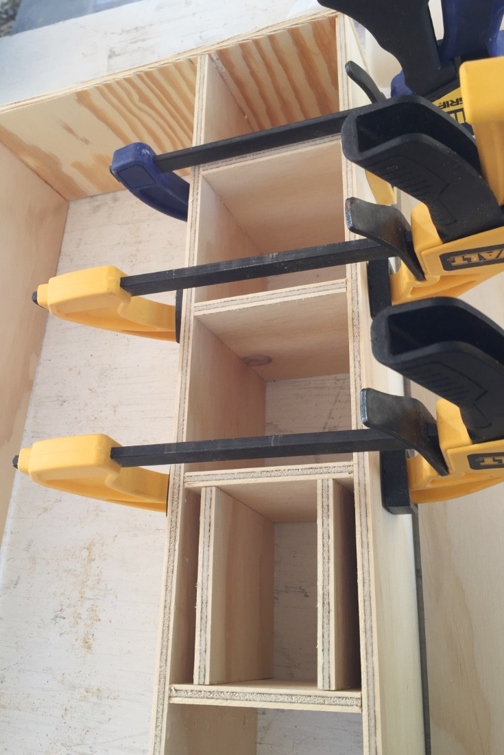 Spacing the cubbies and holding with clamps